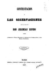 Constestación a las observaciones que ha publicado Jeremías Espino sobre el Manual de física y elementos de química de Manuel Rico y Mariano Santisteban