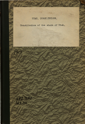 Constitution of the State of Utah as Amended, 1913: Published by the Secretary of State