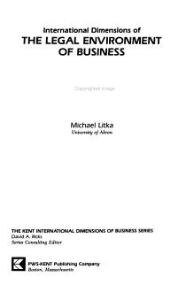 International Dimensions of the Legal Environment of Business PDF