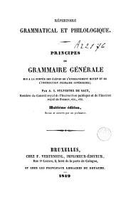 Répertoire grammatical et philologique. Principes de grammaire générale