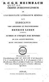 Constitutionum XII. XV. XVI. XX. C. de haereticis I. 5. et constitutionum IX. X. C. de paganis. I. II. e Basilicorum libro I. ad fidem Codicis ms. Coisliniani CLI. nunc Parisiensis graece et latine editarum specimen