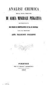 Analisi chimica della nuova sorgente di acqua minerale purgativa ritrovata nei pressi di Montecatini in Val di Nievole