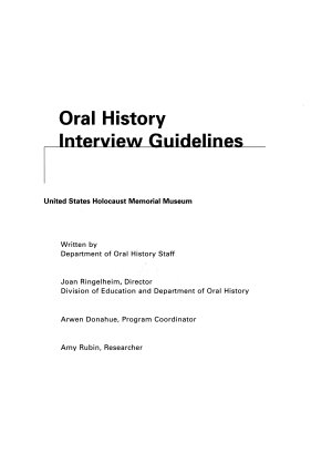 Oral History Interview Guidelines  United States Holocaust Memorial Museum PDF