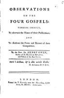 Observations on the Four Gospels  PDF