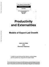 Productivity and Externalities: Models of Export-led Growth, Issue 387