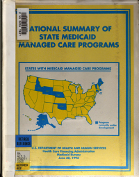 National summary of state Medicaid managed care programs  1993