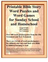 Printable Bible Story Word Puzzles and Word Games for Sunday School and Homeschool PDF