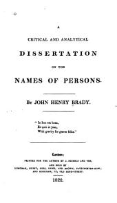 A Critical and Analytical Dissertation on the Names of Persons
