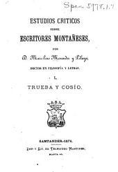 Estudios críticos sobre escritores montañeses: Volumen 1