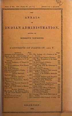 The Annals of Indian Administration PDF