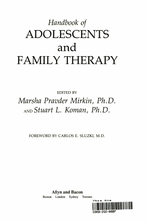 Handbook of Adolescents and Family Therapy PDF