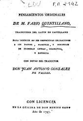 Pensamientos originales de M. Fabio Quintiliano