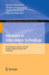 Advances in Information Technology: 4th International Conference, IAIT 2010, Bangkok, Thailand, November 4-5, 2010, Proceedings