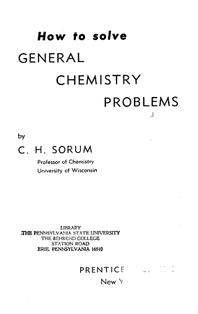 How to Solve General Chemistry Problems PDF