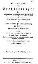 Verhandlungen der Schweizerischen Naturforschenden Gesellschaft PDF
