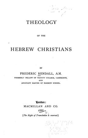 Theology of the Hebrew Christians PDF