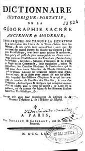Dictionnaire historique-portatif de la geographie sacree ancienne et moderne (etc.)