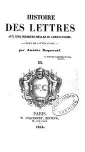 Histoire des lettres avant le christianisme: cours de littérature, Volume3