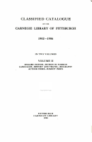 Classified Catalogue of the Carnegie Library of Pittsburgh PDF