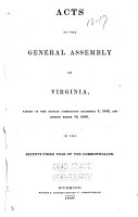 Acts of the General Assembly of the State of Virginia PDF