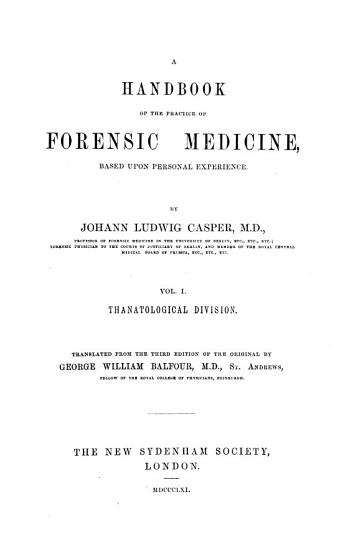 A Handbook of the Practice of Forensic Medicine PDF