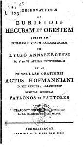 Observationes ad Euripidis Hecubam et Orestem