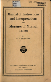 Manual of Instructions and Interpretations for Measures of Musical Talent