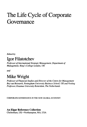 The Life Cycle of Corporate Governance