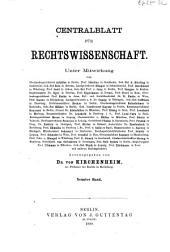 Zentralblatt der Rechtswissenschaft: Band 9