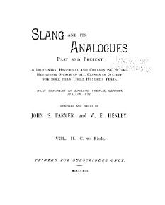 Slang and Its Analogues Past and Present PDF