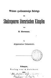 Weitere quellenm  ssige beitr  ge zu Shakespeares literarischen k  mpfen PDF