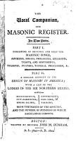 The Vocal Companion And Masonic Register