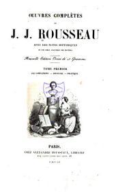 Oeuvres complètes de J.J. Rousseau: Les confessions. Discours. Politique