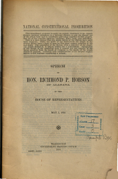 National Constitutional Prohibition: Speech of Hon. Richmond P. Hobson, of Alabama, in the House of Representatives, May 1, 1914