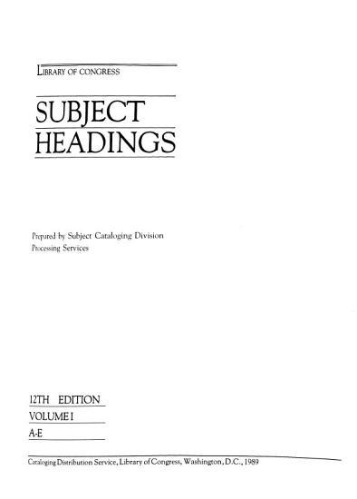 Library of Congress Subject Headings  A E PDF