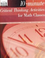 10 Minute Critical Thinking Activities for Math PDF