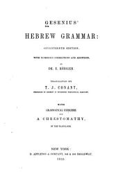 Gesenius' Hebrew grammar: with numerous corrections and additions
