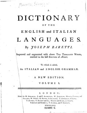A dictionary of the English and Italian languages  By Joseph Baretti PDF