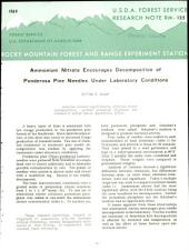 Ammonium Nitrate Encourages Decomposition of Ponderosa Pine Needles Under Laboratory Conditions