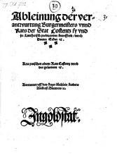 Ableinung der verantwurtung Burgermeisters unnd Rats der Stat Costentz  sy und jrr Luttherisch predicanten betreffend  etc   PDF