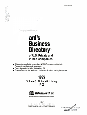 Ward s Business Directory of U S  Private and Public Companies  1995