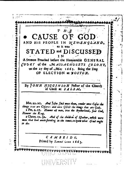 The Cause of God and His People in New England
