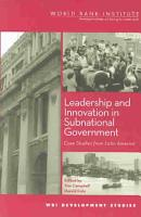 Leadership and Innovation in Subnational Government PDF