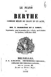 Le piano de Berthe: comédie mêlée de chant en un acte