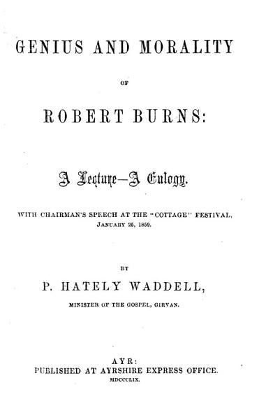 Download Genius and Morality of Robert Burns Book