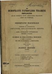 De Demophanti Patroclidis Tisameni populiscitis quae inserta sunt Andocidis orationi: Dissertatio inauguralis quam ...