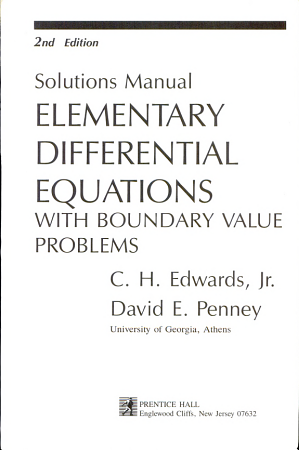 Solutions Manual  Elementary Differential Equations with Boundary Value Problems  2nd Edition PDF