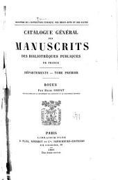 Catalogue général des manuscrits des bibliothèques publiques de France: Volume1