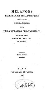 Melanges religieux et philosophiques: Volume1
