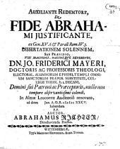 De fide Abrahami iustificante, ex Genes. 15, 6. dissertatio sol